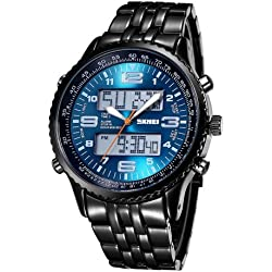 Skmei 3707 Multifunctional Dual Movement Big Dial Sport Uhr Quarz Digital Wrist Uhr mit Alloy Band and Luminous Display & stoporologio & Alarm & Week Display & Calendar FUNCTIONS für Herren (Blue + Black)