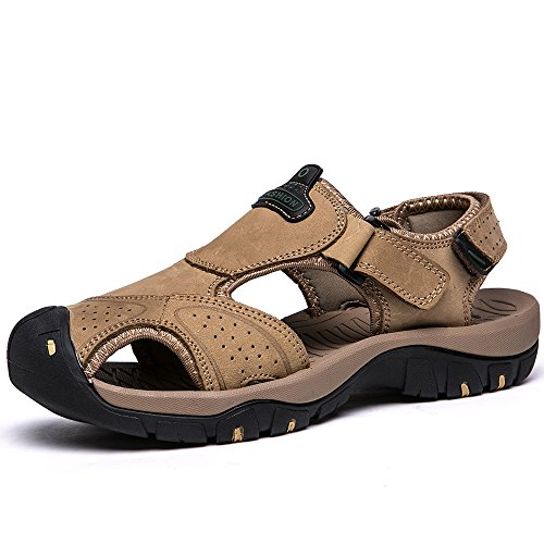 VILOCY Mens Summer Sports Sandals Leather Closed-toe Outdoor Sandals Trekking Shoes Khaki UK9