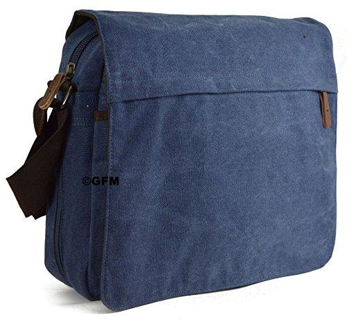 Seconds GFM -  Borsa Messenger classica in tessuto ideale per la scuola, per portare in  ufficio, in viaggio - Stile casual Large - #46NL - Blue