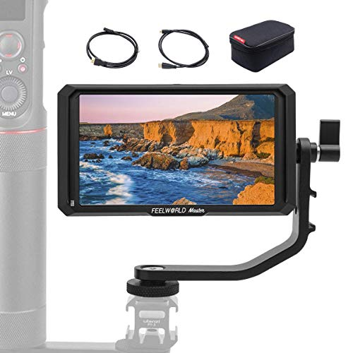 FeelWorld Master MA5 Kamera Feldmonitor 5 Zoll DSLR Field Monitor 1920x1080 IPS Full HD 4K DC-Ausgangsleistung mit Kipparm HDMI Kabel für Canon Nikon Panasonic Sony DSLR Kamera