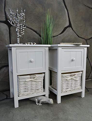 Livitat® 2 x Nachttisch Nachtschrank H50 cm Landhaus Weiß Nachschränckchen Nachtkommode LV1084 (2 x 1 Korb)