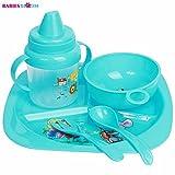 #5: Babies Bloom Toddler Candy Blue Tableware Set of 5 - Baby Feeding Set