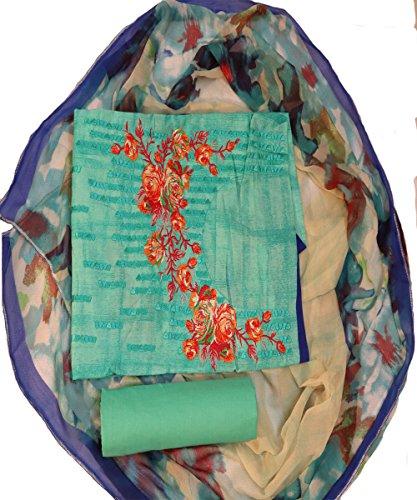 Women's cotton light green and multicolour colour Dress material