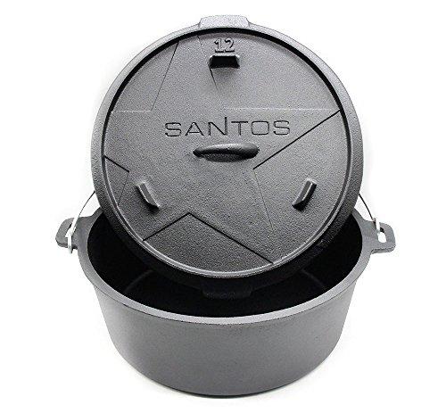 """Santos Gusseisen Dutch Oven – ohne Füßen – 11 Liter, 8-10 Personen, ca. 12 QT"""" – Feuertopf Schmortopf Camp Oven für Gasgrill Kohlegrill und offenes Feuer"""