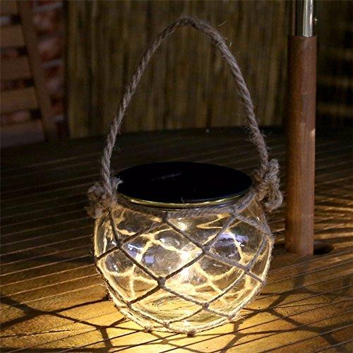 Solar LED Garten Kerze Lampe Mason Jar Retro Terrasse Solar Laterne Glas Wasserdicht Ball Hängeleuchte mit Seil Landschaft Weg-Lampen