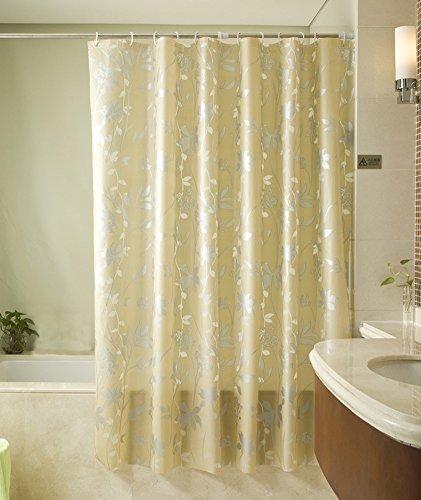 Generic Polyester Silber Blume Muster Vorhang für die Dusche mit Kunststoff Haken 94von 200,7cm (Blumen-prints Koi)