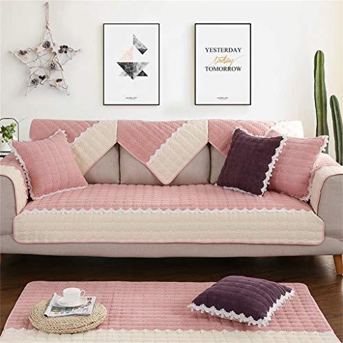 Divano asciugamano, divano cuscino tessuto inverno antiscivolo peluche moderno minimalista soggiorno divano copertura del tovagliolo (colore : pink, dimensioni : 110 * 110cm(43 * 43inch))