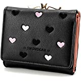 Elios PU Leather Small Three Fold Heart Clutch Coin Purse and Card Holder Organizer Women Wallet (Pink)