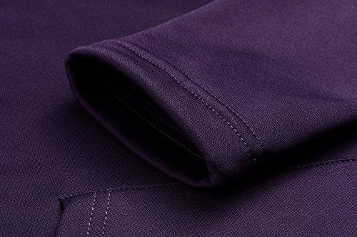 Zearo Damen V-Ausschnitt Langarm Kapuzenpullover Fleece Casual Hoodie Sweatshirt Lila