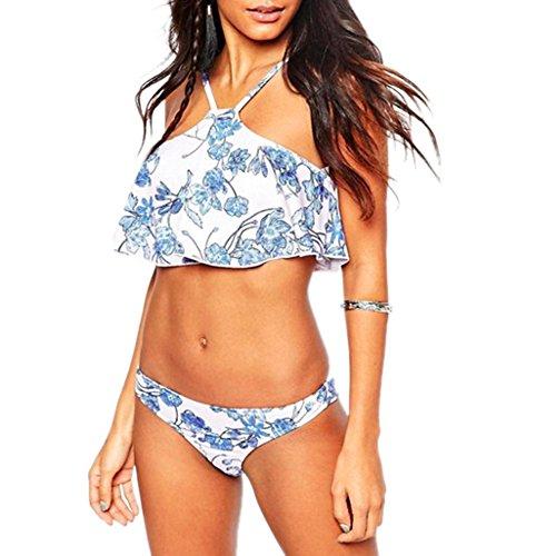 iBaste Damen Rüschen Straps Bademode Badeanzüge Volant Falbala High Neck Bikini Set (Neck High Rüschen)