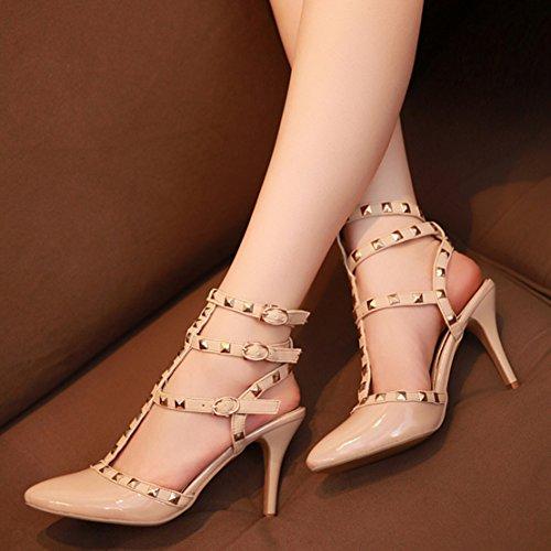 AIYOUMEI Damen Leder Slingback T-spangen Sandalen mit Nieten Stiletto High Heels Sommer Pumps Schuhe Beige