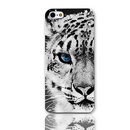 Dikals Leopard blaue Augen, Xue-lin in Snow Leopard hülle für iPhone 8,Weiß (Kitty Leopard Hello)