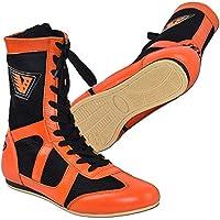 Velo - Zapatillas de Boxeo de Cuero para Hombre Negro Naranja