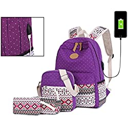 Vezela® Set of 4 Casual Lightweight Canvas Laptop Bag with USB Charging Feature - Purple Color Laptop Bag in Backpack for School / Collage