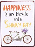 i.stHOME Metallschild mit Spruch - Happiness is my bicycle and a Sunny Day - Vintage Retro Blechschild