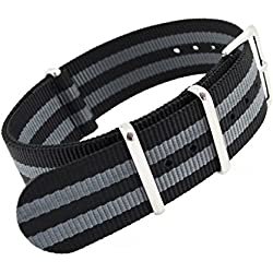 MetaStrap 20mm Nylon Strap Zulu Watch Band with Black&Grey Striped Style