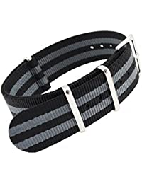 amazon co uk nylon watch straps men watches metastrap 20mm nylon strap zulu watch band black grey striped style