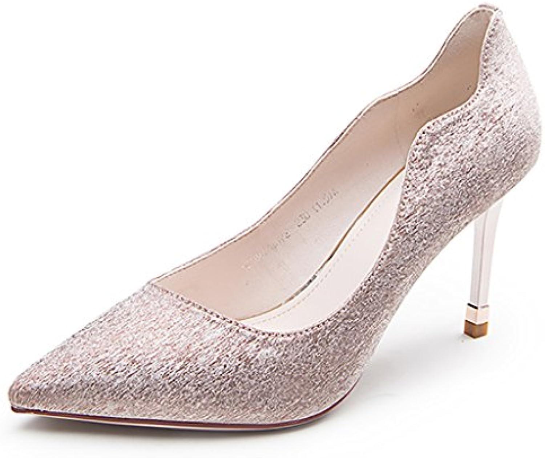 c6849b18e70699 YLLHX Chaussures Chaussures Chaussures pour Femmes Printemps,  Été et Automne Chaussures de Mariée Demoiselle  D'honneur Talon Haut Fine.