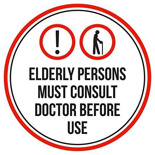 Maureen52Dorothy Ältere Menschen müssen hierzu Arzt vor Gebrauch Pool Spa Warnschilder Sticker Funny gewerblichen Safety Signs Aufkleber Rund Vinyl Hinweis Schild Aufkleber 22,9x 22,9cm