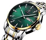A ALPS Uhren, Herrenuhren Business Klassisch Analog Quarzuhr Wasserdicht Armbanduhren Mann Datum Männer Uhren mit Edelstahl Armband Grün