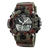 milageto Reloj Analógico Digital De LED para Hombres Reloj Militar Multifuncional Impermeable - Camuflaje