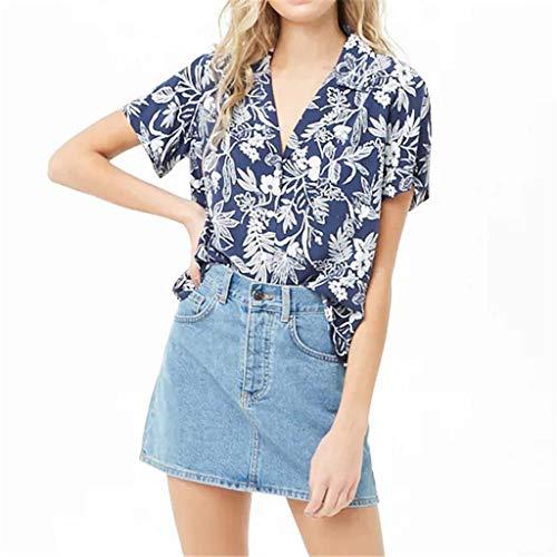 Button Up Shirt Jeans (YpingLonk Kurzärmliges Damen-Chiffonhemd mit V-Ausschnitt und lässigem Aufdruck Womens Kurzarm lose Print Bluse Casual Tops Damen V-Ausschnitt Button-up Shirt)