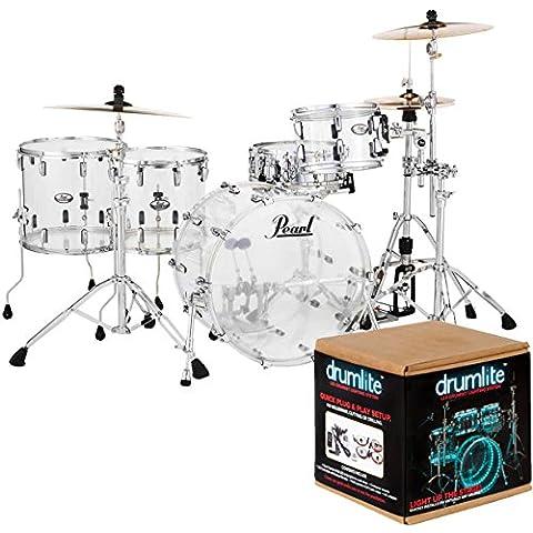 Pearl crb524fp C730Crystal Beat Fusion Shell Set acrilico + Drum Lite dlk2d Lighting Set - Vision Drum Set