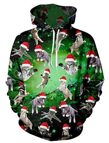 rauen 3D Santa Print Crewneck Chirstmas Pullover Weihnachten Katze Sweatshirt Hoodies mit großen Taschen (Santa Anzug Für Frauen)