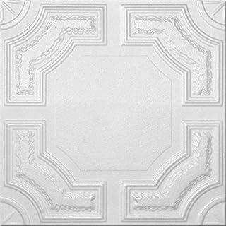A la Maison Ceilings 874 Evergreen - Styrofoam Ceiling Tile (Package of 8 Tiles), Plain White