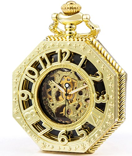 SEWOR Octagon Old School Style Hollow Arabic Numerals Mechanical Hand Wind Pocket Watch (Gold)