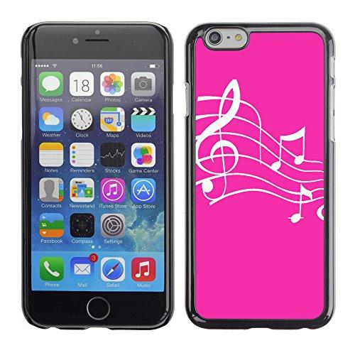 Graphic4You Musik Noten Muster Design Harte Hülle Case Tasche Schutzhülle für Apple iPhone 6 / 6S (Hellbraun) Neon Rosa