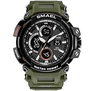 Anyeda Herren Uhren Fitness Smartwatch Outdoor Sport mit Schrittzähler Wasserdichte Multifunktion Kinderuhren Grün Jungen Uhren Digital
