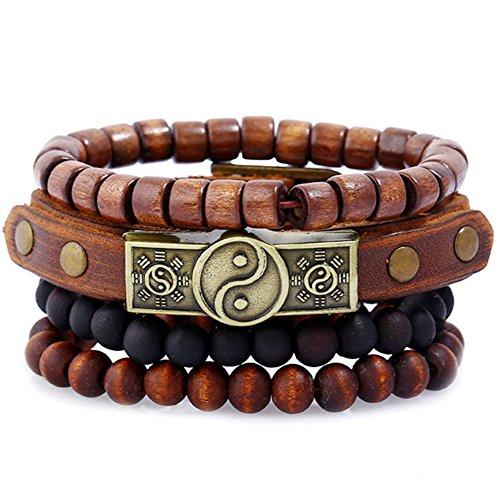 AIUIN Retro Armband Tai Chi geflochtenes Lederarmband für Herren Männer Einstellbares dekoratives Armband (Style 2)