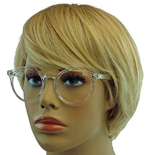 Classic Nerdbrille: große, fast runde Pantobrille filigrane Streberbrille Hornbrille clear lens KTY...