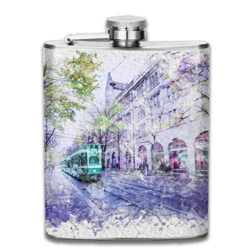 Watercolor City Street Gifts Top Shelf Flasks Stainless Steel Flask