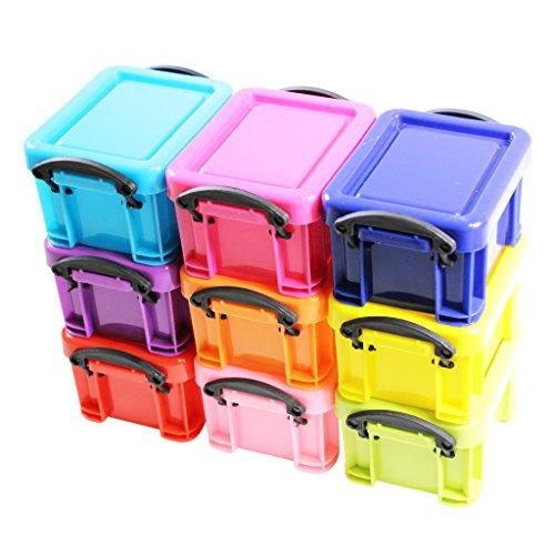 mini-scatole-stoccaggio-colorate-in-plastica-chiusura-a-clip-contenitori-set-da-9-di-kurtzy-tm