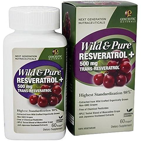 Genceutic Naturals - Wild & Pure resveratrolo 500 mg. Trans - 60 capsule vegetariane