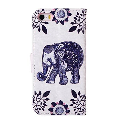 Custodia iPhone SE, Custodia iPhone 5S a portafoglio, Tebeyy Premium, motivo Fiore/Animale/ Personaggi, in pelle PU [chiusura magnetica] con fessura per carte per Apple Iphone SE/5S/5, Cavalletto, Por Elephant leaf