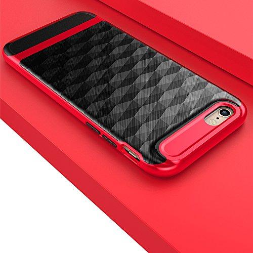 Creativo Geometrico Poligono Custodia per iPhone 6/ 6S, SKitic Fibra di Carbonio Polygon Case Duro PC e Morbido TPU Doppio Strato Protezione Cover Antiurto Resistente ai graffi Bumper Copertura per iP Rosso