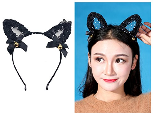 tpocean Spitze Bell Katze bunny Ohren Stirnband Sexy Haarband Spannreifen Frauen Mädchen Make-up mit Kopfbedeckungen für den täglichen Cosplay Kostüm ()
