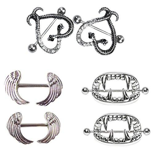 SevenMye Brustwarzen-Piercing, erhältlich in verschiedenen Designs, 3 Paar  Stil Nr. 4