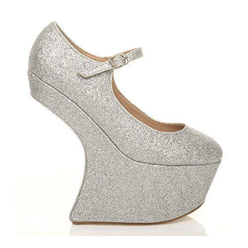 Donna discoteca senza tacco meno zeppa alta mary jane scarpe piattaforma numero Stile A: Argento