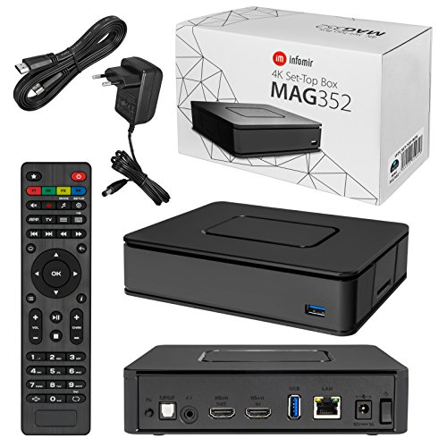 MAG 351/352 Original HB-DIGITAL & Infomir IPTV Set TOP Box WLAN WiFi 802.11 b/g/n/ac, Bluetooth 4.0, Stalker Middleware Multimedia Player Internet TV IP Receiver HEVC H.256 + HDMI Kabel