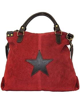 XL Wildleder Damentasche Stern Stars Shopper Henkeltasche Tasche Rauhleder/Leder