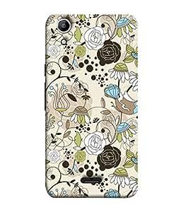 PrintVisa Designer Back Case Cover for Micromax Canvas Selfie Lens Q345 (Cloth Design Work Flower Bale Bird Art Texture )