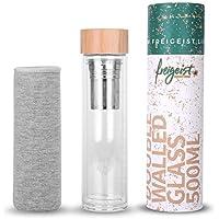 freigeist - Botella para té con colador, 500ml, doble pared, aislada, botella de cristal con infusor, termo de cristal, taza de viaje, tetera de cristal con tapa de bambú