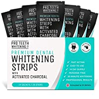 Teeth Whitening Strips with Activated Charcoal | 28 Peroxide-Free Teeth Whitening Strips (14 Upper + 14 Lower) | Fast-Acting Teeth Whitening Kit Formulated by UK Dentists for Pro Teeth Whitening Co. ®