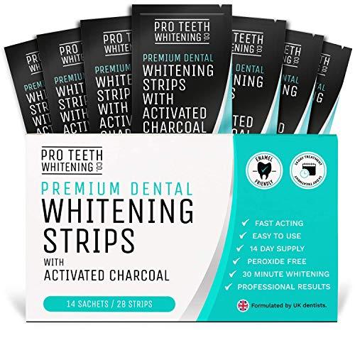 Zahnaufhellung-Streifen, White Stripes für Weißere Zähne mit Aktivkohle - Professionelles Bleaching für Weiße Zähne mit unseren Pro Teeth Whitening Co Strips.