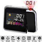 SOLUCKY Reloj Despertador de proyección Digital con estación meteorológica, termómetro Exterior Interior, Cargador USB