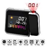 WISCLASS Sveglia a proiezione, [Versione aggiornamento] Orologio a proiezione a soffitto LCD con Funzione Snooze, Temperatura Interna ° C / ° F, retroilluminazione, Ricarica USB, 12 / 24h